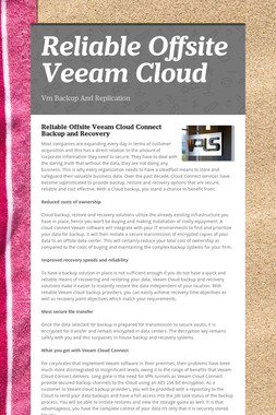 Reliable Offsite Veeam Cloud