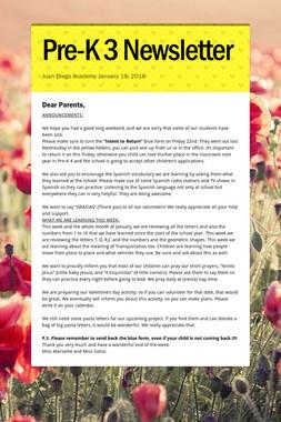 Pre-K 3 Newsletter
