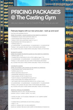 PRICING PACKAGES @ The Casting Gym