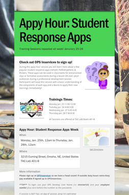 Appy Hour: Student Response Apps