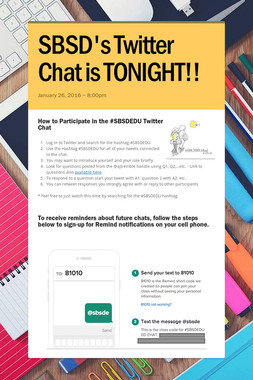 SBSD's Twitter Chat is TONIGHT!!