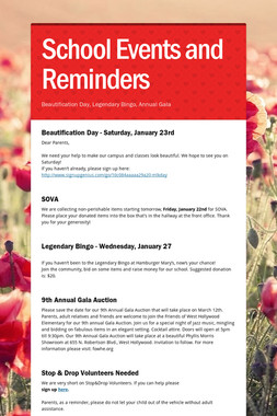 School Events and Reminders
