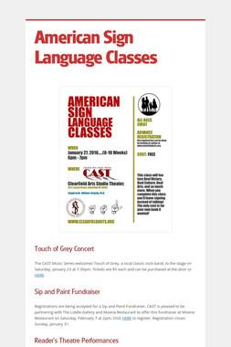 American Sign Language Classes