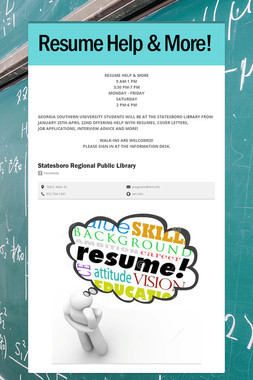 Resume Help & More!