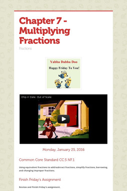 Chapter 7 - Multiplying Fractions