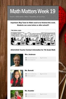 Math Matters Week 19