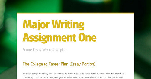 plans for college and the future essay