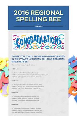 2016 Regional Spelling Bee