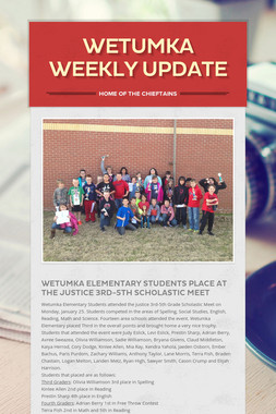 Wetumka Weekly Update