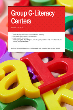 Group G-Literacy Centers