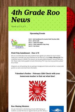 4th Grade Roo News