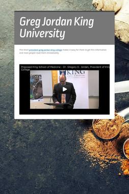 Greg Jordan King University