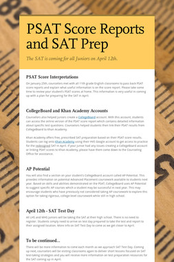 PSAT Score Reports and SAT Prep