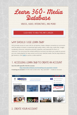 Learn 360- Media Database