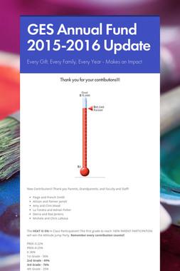 GES Annual Fund 2015-2016 Update