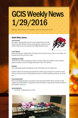 GCIS Weekly News 1/29/2016