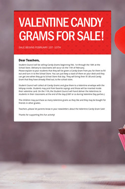 VALENTINE CANDY GRAMS FOR SALE!