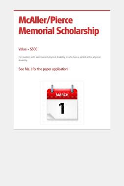 McAller/Pierce Memorial Scholarship