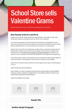 School Store sells Valentine Grams