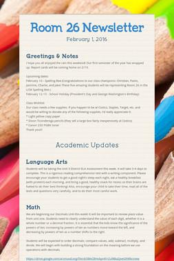 Room 26 Newsletter