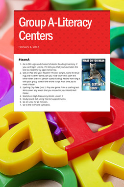 Group A-Literacy Centers