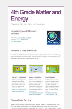 4th Grade Matter and Energy