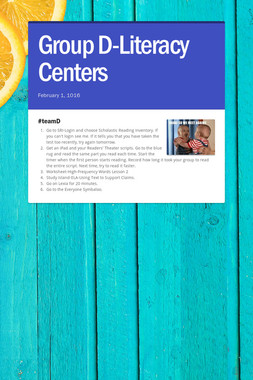 Group D-Literacy Centers