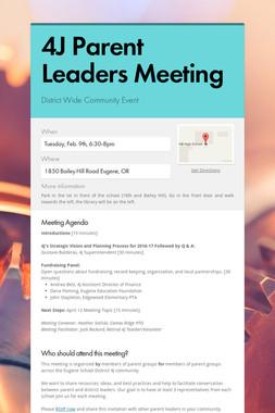 4J Parent Leaders Meeting