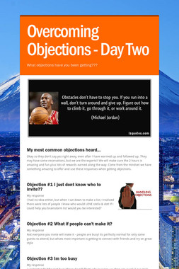 Overcoming Objections - Day Two