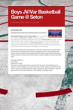 Boys JV/Var Basketball Game @ Seton
