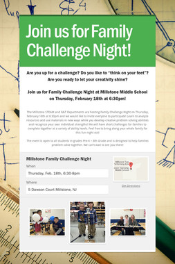 Join us for Family Challenge Night!