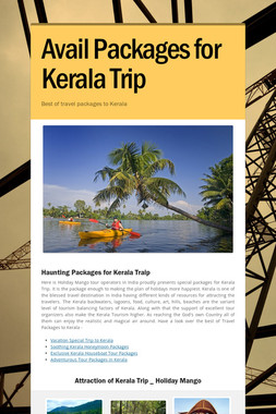 Avail Packages for Kerala Trip