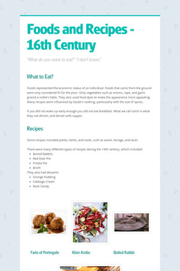Foods and Recipes - 16th Century