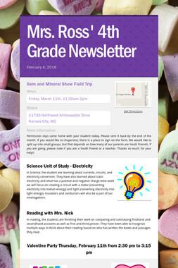 Mrs. Ross' 4th Grade Newsletter