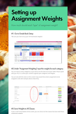 Setting up Assignment Weights