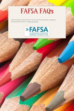 FAFSA FAQ's