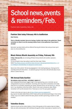School news,events & reminders/Feb.