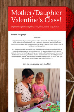 Mother/Daughter Valentine's Class!