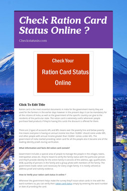 Check Ration Card Status Online ?