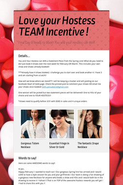 Love your Hostess TEAM Incentive !