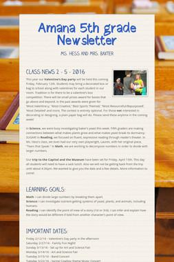 Amana 5th grade Newsletter