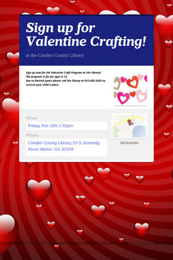 Sign up for Valentine Crafting!