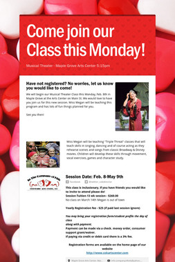 Come join our Class this Monday!