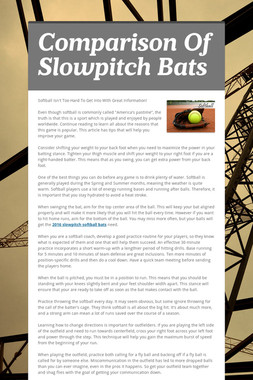 Comparison Of Slowpitch Bats