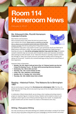 Room 114 Homeroom News