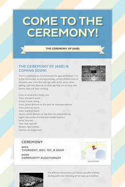 Come to The Ceremony!