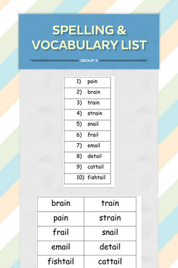 Spelling & Vocabulary List