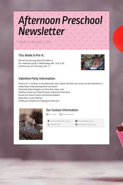 Afternoon Preschool Newsletter
