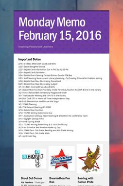 Monday Memo February 15, 2016