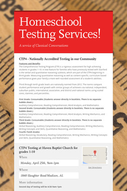 Homeschool Testing Services!